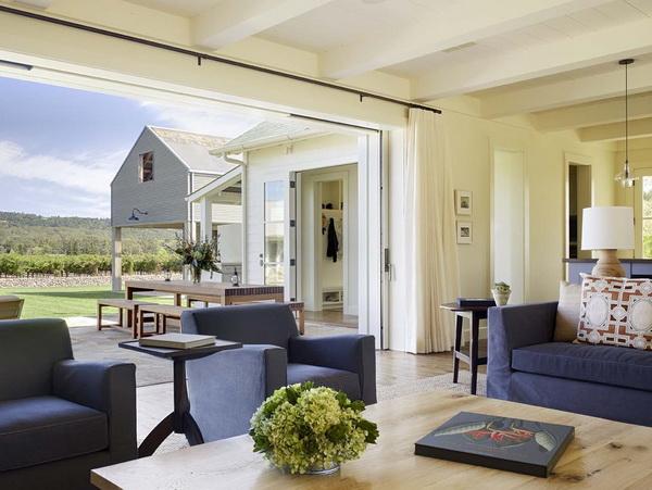 sliding-glass-door-curtains-Living-Room-Farmhouse-with-blue-armchair-blue-sofa